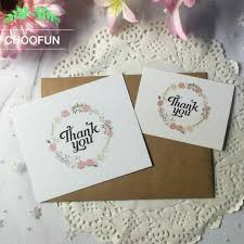 50pcs lot fresh flowers thank you paper card wreath of gift