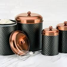 copper canisters kitchen new ashby canisters matte black and copper color combination