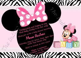 Walmart Baby Shower Invitation Cards Minnie Mouse Zebra Print Baby Shower Invite Card