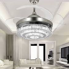 lighting crystal chandelier ceiling fan retractable blade with