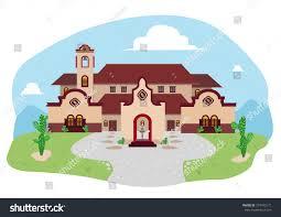 cartoon illustration spanish mediterranean house mexican stock