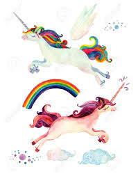 unicorn rainbow watercolor fairy tale collection with flying unicorn rainbow
