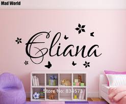 popular personalised name butterflies flowers wall art buy cheap mad world personalised name custom butterfly flowers wall art stickers wall decal home decoration removable
