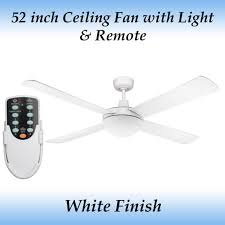 white ceiling fan with light and remote fias genesis 52 inch 1300mm white ceiling fan with light and