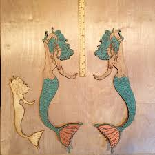 large mermaid wall decor with copper leaf accents decorative