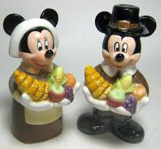 mickey and minnie as pilgrims thanksgiving salt and pepper shaker