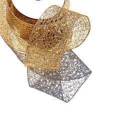 wired ribbon gold wired ribbon glitter ribbon sparkle ribbon glitter