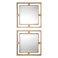 Uttermost Mirror Uttermost Allick Gold Square Mirrors Set 2 Uttermost Item 09234
