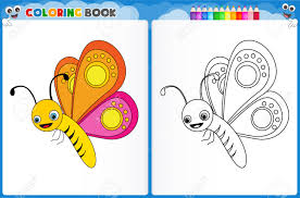 coloring page butterfly with colorful sample printable worksheet