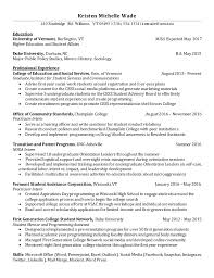 First Year College Student Resume Kristen Michelle Wade Resume
