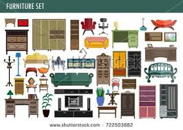 Home Interior Vector by Furniture Interior Elements Vector Icons Set Stock Vector