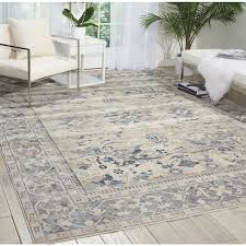 Nourison Area Rugs Kathy Ireland Malta Ivory Blue Area Rug 9 X 12 By Nourison
