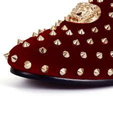 red rivets velvet loafers men party wedding shoes studs dress
