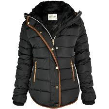 womens la s quilted winter coat puffer fur collar hooded jacket