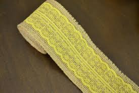 burlap and lace ribbon 2 yards burlap yellow lace ribbon 2 5 wide