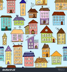 vector seamless pattern colored houses stock vector 528027724