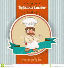 illustration cuisine retro illustration with cook and delicious cuisine message stock
