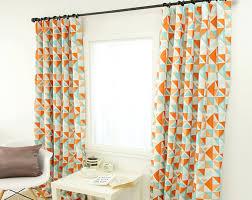 Orange Patterned Curtains Blackout Curtains Enapremium