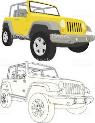 jeep drawing easy vector 4x4 jeep wrangler stock vector art 165045182 istock