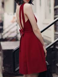 backless bow embellished sleeveless skater dress neck cheap