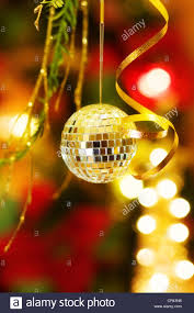 magic christmas greeting card with silver disco ball bauble and
