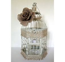 amazing rustic birdcage with burlap wedding table centerpiece