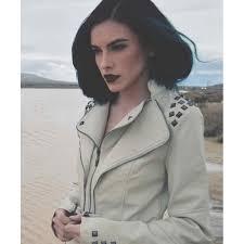 hooded motorcycle jacket womens studded punk jacket white faux leather moto jacket