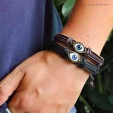 eye charm bracelet images Brown unisex genuine leather good luck evil eye charm bracelet jpg