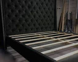 tufted headboard upholstered bed frame diamond tufting tall