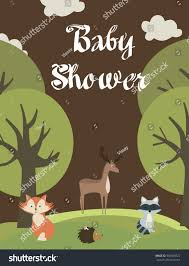 baby shower card woodland animals vector stock vector 549308572