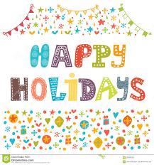 happy holidays greeting card illustration for design