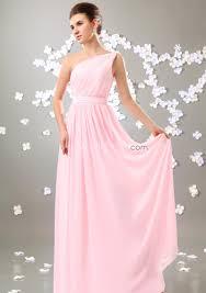 Pink Bridesmaid Dresses Us 99 99 Simple Pink One Shoulder Long Chiffon Bridesmaid Dresses