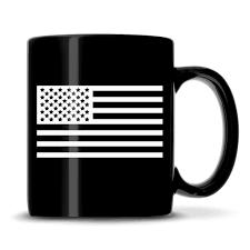 Black And White Us Flag Premium American Flag Coffee Mug Black Sand Carved 12 Oz