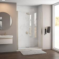 shop coastal shower doors illusion series 57 75 in to 59 0 in coastal shower doors illusion series 57 75 in to 59 0 in frameless brushed nickel hinged