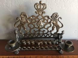 antique menorah vintage brass chanukah menorah candle holder lions of judah heavy