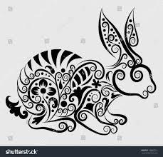 Animal Ornaments Decorative Rabbit Rabbit Flora Ornaments Leaf Stock Vector