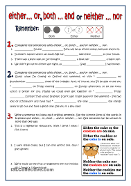 Verb Phrases Worksheets Both Either Neither Exercises English Pinterest