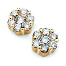 diamond cluster earrings diamond 14kyg diamond cluster earrings 0 75 carat