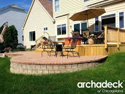 patio ideas wood deck and brick patio in palatine illinois patio