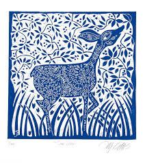 home interior deer pictures linocut doe deer blue printmaking home interior deer country