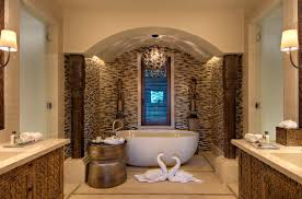 river rock bathroom ideas white uneven stone wall tile varnished wood bathroom cabinet stone