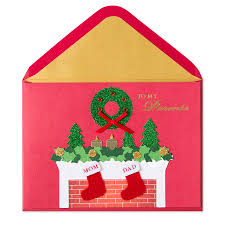 mantle with stockings for mom u0026 dad christmas greeting cards