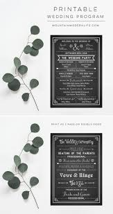 chalkboard program wedding printable diy wedding program fan mountainmodernlife