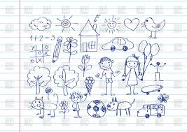 kid u0027s drawing with happy family on notebook sheet background