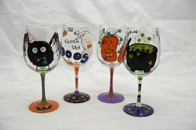 wine glass painting decoration funny painted wine glass set of 4 halloween glass