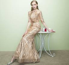 summer autumn long crystal gold sequined v neck evening dress