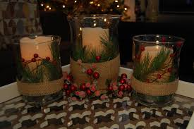 christmas coffee table decor with candles on glass jar added pine