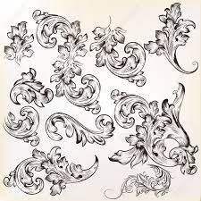 set of swirl vintage ornaments for design royalty free cliparts