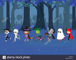 halloween background with silhouettes of children trick or treating in halloween costume halloween kids set of cartoon children in costumes mummy witch