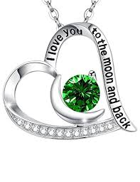 green heart necklace images Birthday gift for women for wife i love you to the jpg